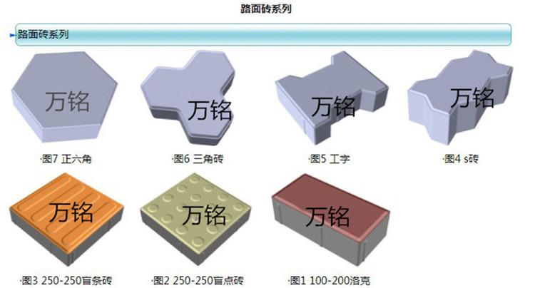 河南万铭西班牙植草砖机可以生产的砖型